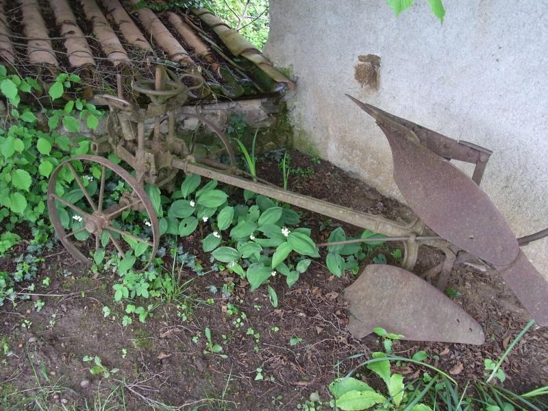 Un vieux brabant (charrue ancienne) décore le jardin.