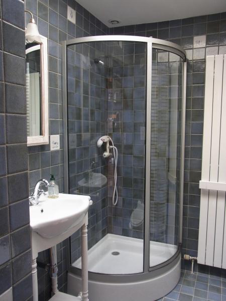 Salle de bains donnant sur la chambre des enfants avec vasque, douche et WC avec broyeur. Salle de bains très lumineuse avec un puit de lumière dans le toit.