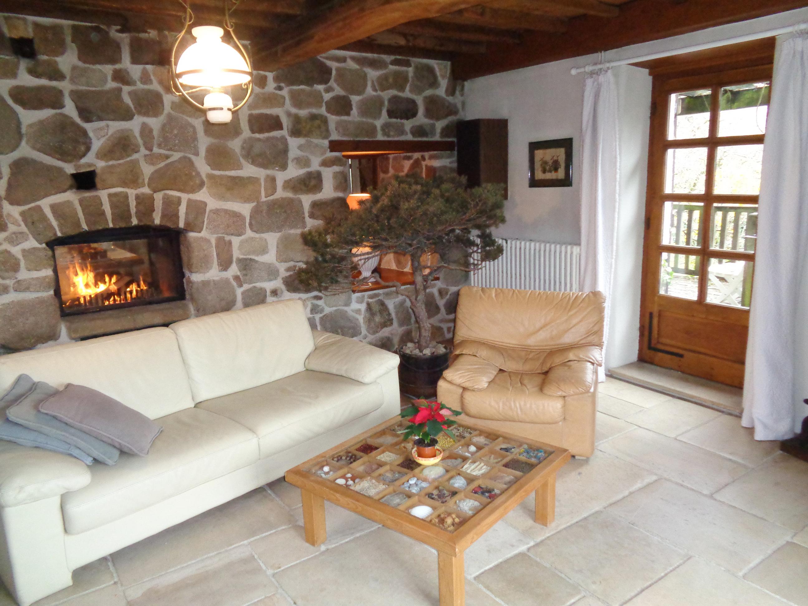 Le salon de ma maison de campagne - Canapé 3 places et 2 fauteuils en cuir, bonnetière ancienne cachant la chaine hifi, le lecteur DVD et la télévision. Porte donnant accès à la terrasse en bois.